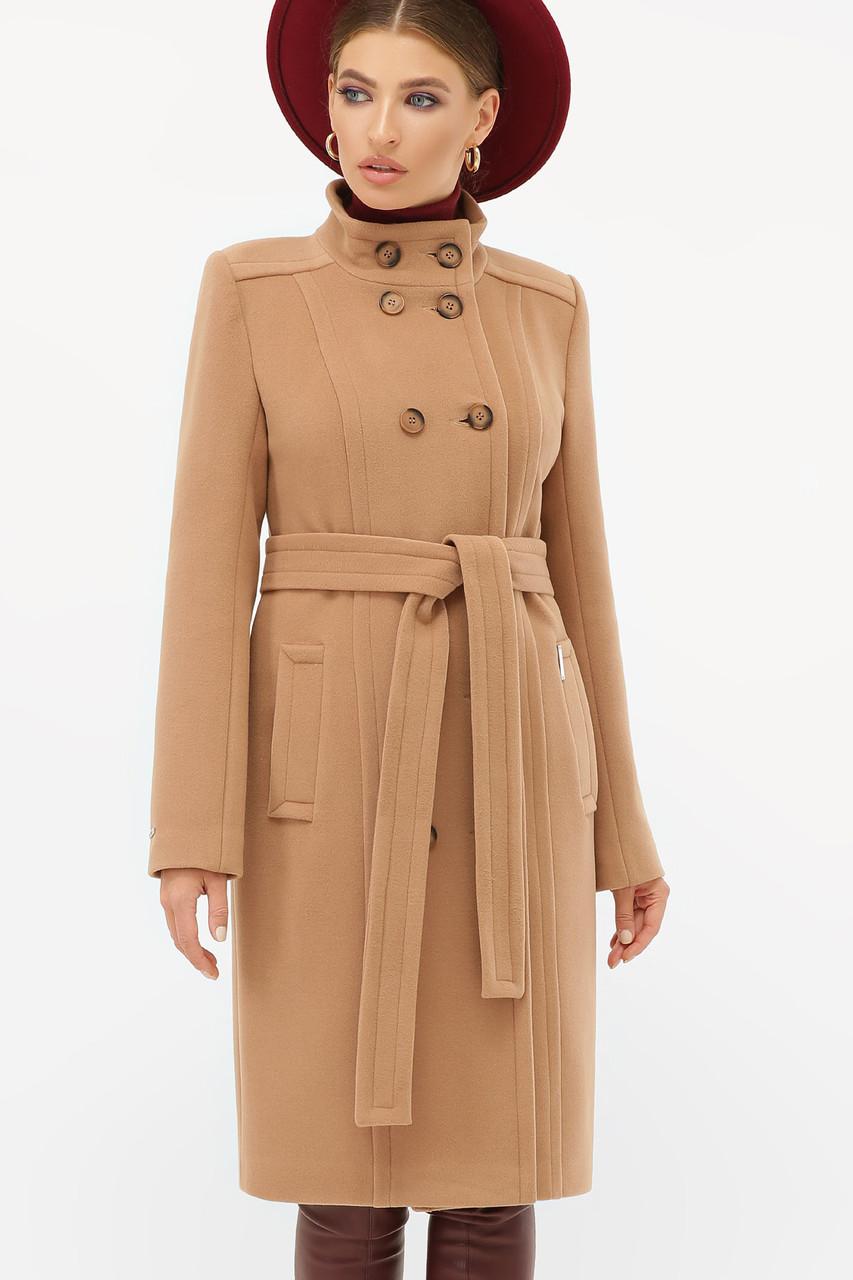 Женское пальто темно-бежевое
