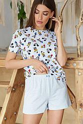 Женская пижама шорты и футболка Джой-1