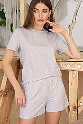 Женская серая однотонная пижама с шортами Джой-2