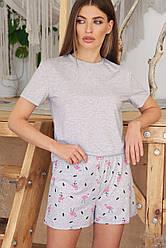 Серая женская пижама шорты с принтом Джой-2