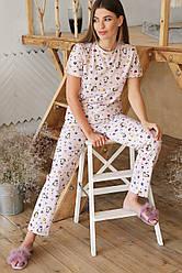 Женская бежевая пижама штаны и футболка Джойс