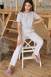Женская серая одноцветная пижама Джойс-2