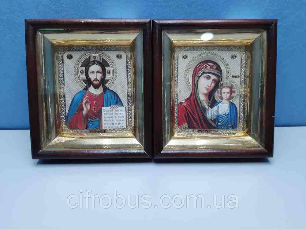 """Б/У Свадебные иконы """"Венчальная пара"""" фотопринт в деревянной рамке."""
