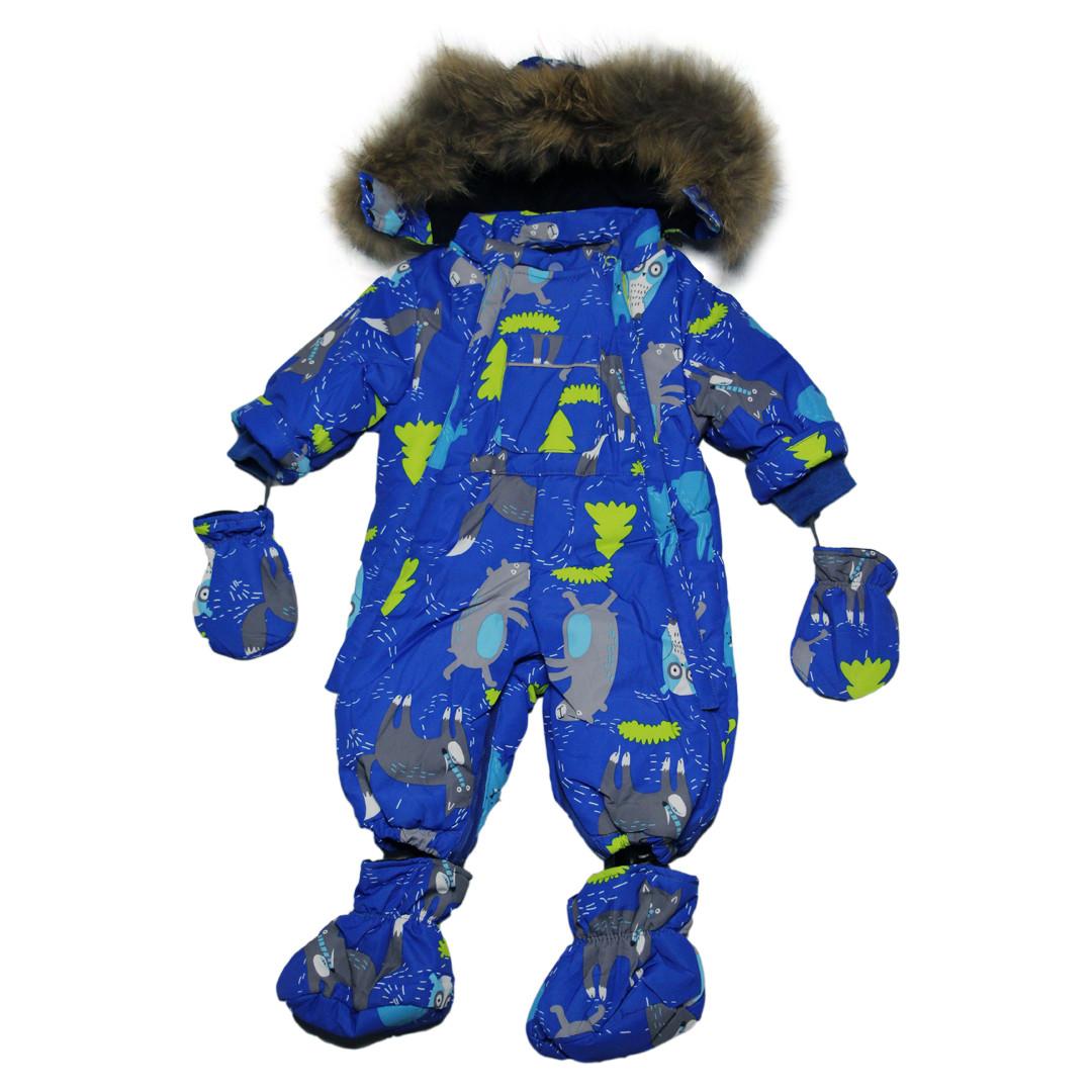 Детский зимний комбинезон трансформер 2 в 1 для мальчика 62 рост голубой