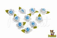"Цветок бело-голубой ""Кувшинка"" 1,5 см из фоамирана (латекса) 10 шт/уп"
