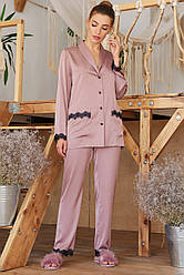 Лиловая шелковая женская рубашка Долорес д/р