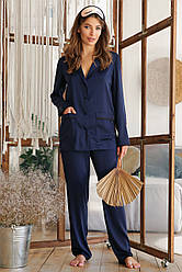 Синяя женская шелковая рубашка для дома Зоряна д/р