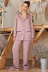 Женская шелковая домашняя рубашка Зоряна д/р лиловая