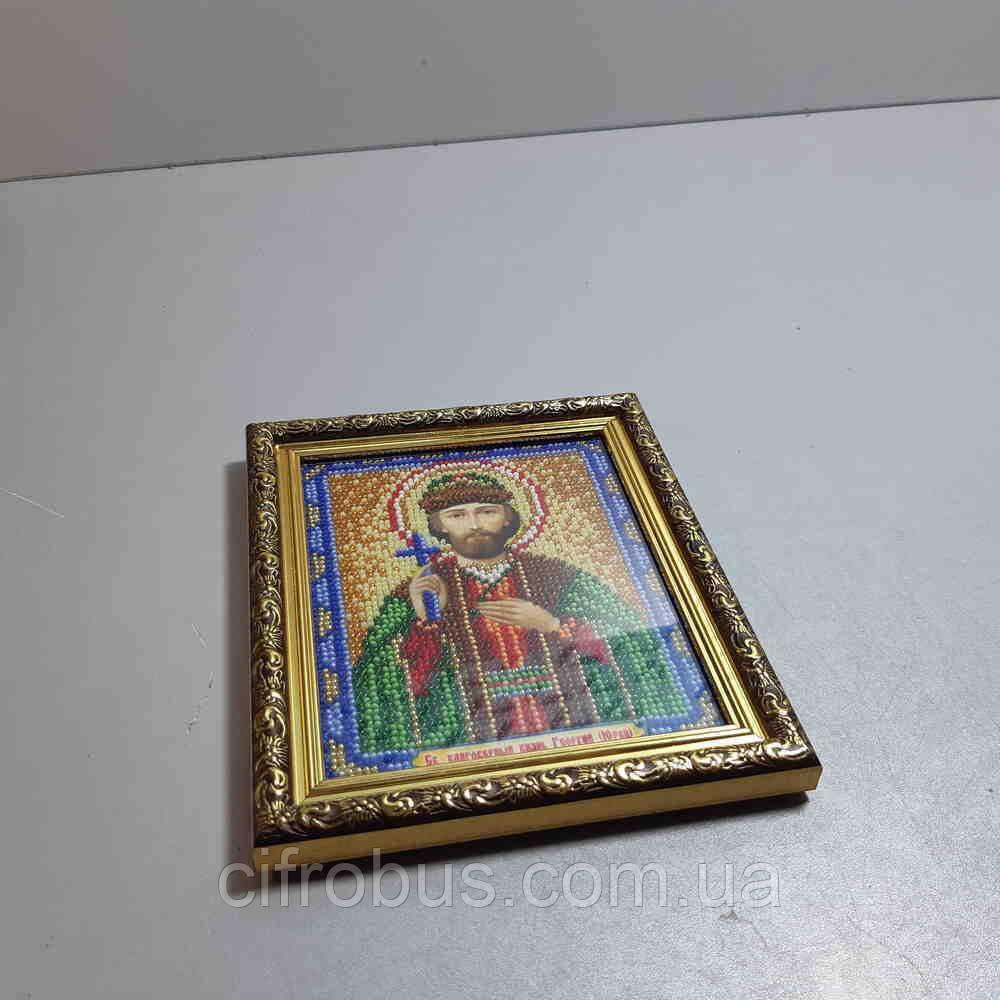 Б/У Икона бисером Святой Благоверный князь Георгий 15х19см в рамке
