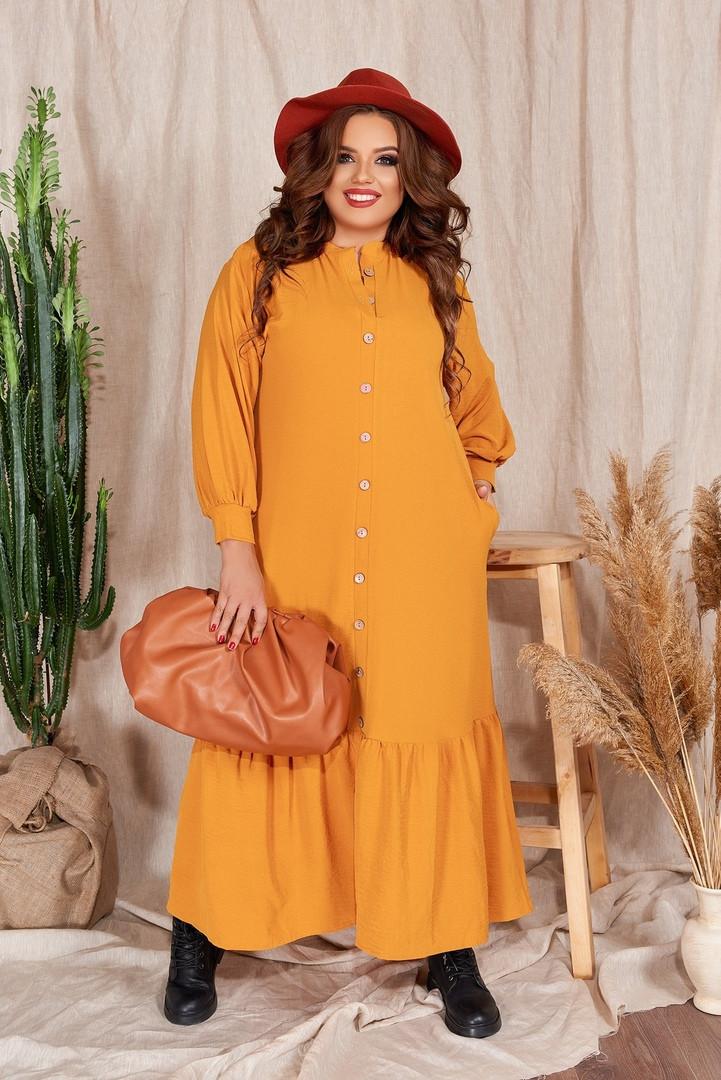 Р. 48-54 Женское длинное льняное платье-рубашка батал 1180 с оборкой