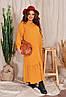 Р. 48-54 Женское длинное льняное платье-рубашка батал 1180 с оборкой, фото 3