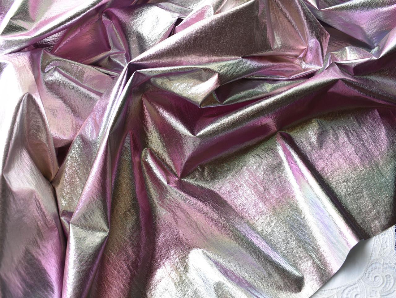 Органза с напылением, 20*30 см, золотисто-розовая