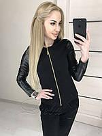 Женская куртка,ткань основы эко-кожа + стёганка, на змейке без капюшона(46), фото 1
