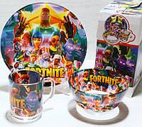 Детская посуда Fortnite, набор 3 предмета, ударопрочное стекло