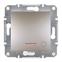 Перемикач 1-клавішний прохідний з підсвіткою Schneider-Electric Asfora Plus Бронза