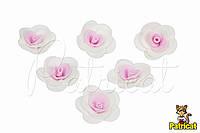 Цветы Розы Бело-розовые 3 см из фоамирана (латекса) 10 шт/уп