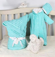 """Вязаный набор на выписку для новорожденного """"Мечта""""(бирюза), фото 1"""