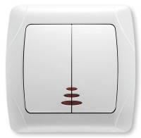 Выключатель 2-клавишный c подсветкой белый VIKO Carmen