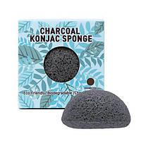 Спонж конняку з деревним вугіллям Trimay Charcoal Konjac Sponge чорний