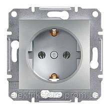 Розетка с з/к Schneider-Electric Asfora Plus Алюминий