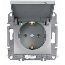 Розетка с з/к и крышкой Schneider-Electric Asfora Plus Алюминий