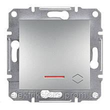 Переключатель 1-клавишный проходной с подсветкой Schneider-Electric Asfora Plus Алюминий
