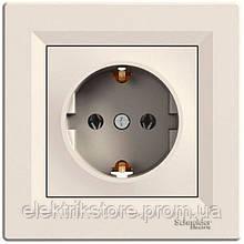 Розетка с заземлением Schneider-Electric Asfora Кремовый