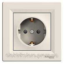 Розетка с з/к и шторками Schneider-Electric Asfora Кремовый