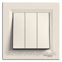 Вимикач 3-клавішний Schneider-Electric Asfora Кремовий