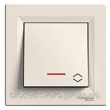Переключатель 1-клавишный проходной с подсветкой Schneider-Electric Asfora Кремовый