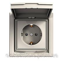Розетка с з/к и крышкой IP44 Schneider-Electric Asfora Кремовый