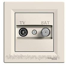 Розетка TV-SAT одинарная (1 дБ) Schneider-Electric Asfora Кремовый