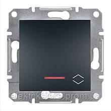 Переключатель 1-клавишный проходной с подсветкой Schneider-Electric Asfora Plus Антрацит