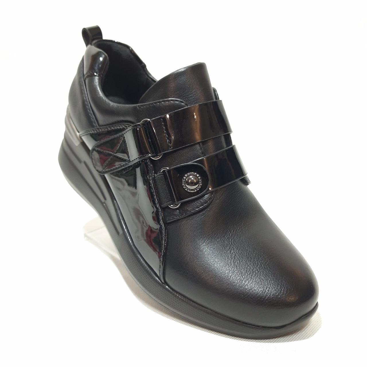 Женские туфли весенние на молнии с липучкой на танкетке экокожа