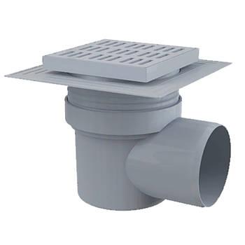 Сливной трап Alcaplast 150х150/110 мм боковой подвод, пластик