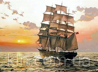Набір алмазної вишивки Корабель у морі (на підрамнику) 50 х 40 см (арт. TN944)