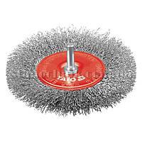 Щетка-крацовка дисковая стальная рифленая со шпилькой 100 мм YATO (YT-4758)
