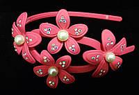 Обруч для волос цветы розовый каучук
