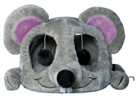 Домик для кота 35*33*65см / Trixie Lukas / меховой серый с дряпкой