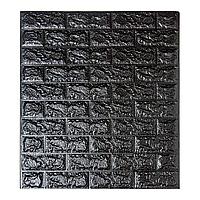 Декоративні 3D панелі для стін самоклеючі під цеглу Чорний 70х77см