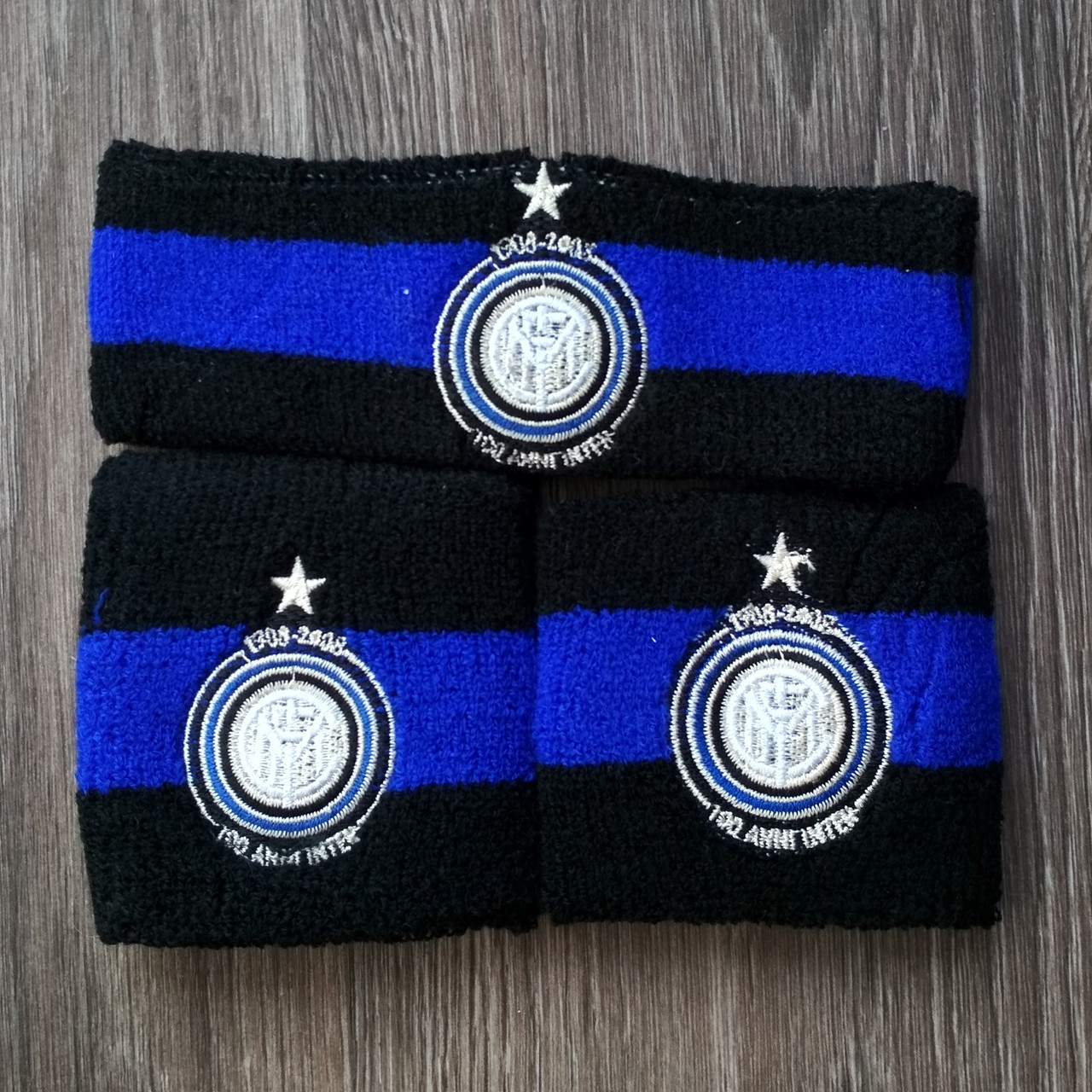 Комплект повязка на голову и напульсники Интер синий