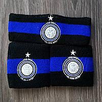 Комплект повязка на голову и напульсники Интер синий, фото 1