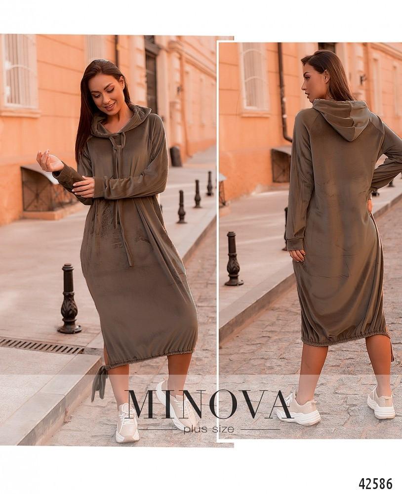 Модное молодёжное платье из велюра с 50 по 64 размер в 4-х цветах