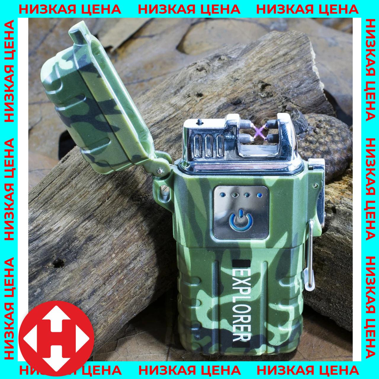 Распродажа! Электродуговая плазменная импульсная зажигалка Explorer (6741) Хаки - электрозажигалка от USB