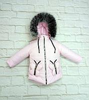 Зимняя теплая детская куртка на флисе для девочки 90-112 см