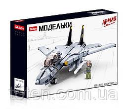 Конструктор Истребитель F14 военный, самолет, фигурка, 404 детали SLUBAN M38-B0755