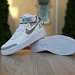 Жіночі кросівки Nike Air Force 1' 07 (біло-сірі) 2926, фото 6