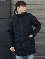 Куртка парка мужская черная зимняя теплая брендовая Staff Стафф