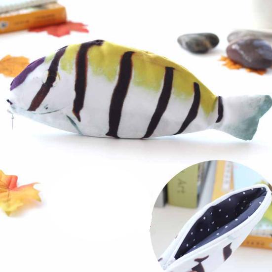 Пенал 3d рыбка, с изображением рыбки полосками «Fish 3d» (жёлтый )