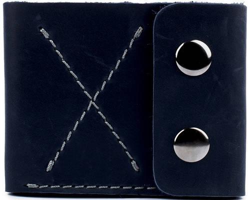 Мужское удобное портмоне на кнопках из натуральной кожи Black Brier П-2-97 темно-синий